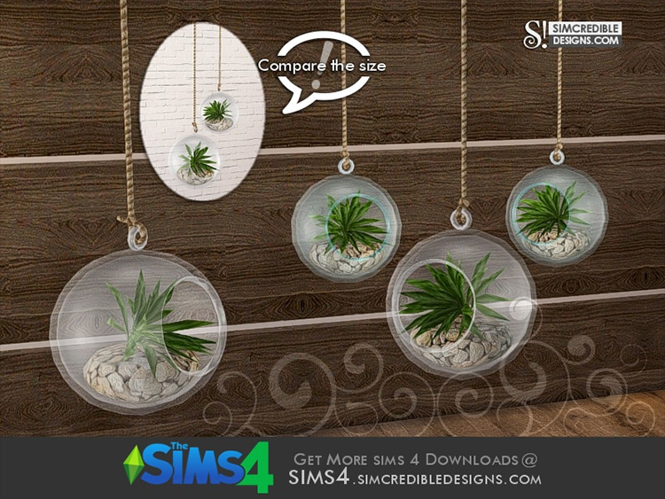 Cassis Hanging Plant Orb 1 (Larger) by SIMcredible! Sims 4 CC