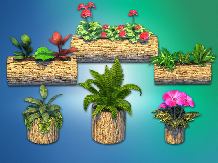 """Decorative Flower Bed """"Nature"""" by Natatanec Sims 4 CC"""