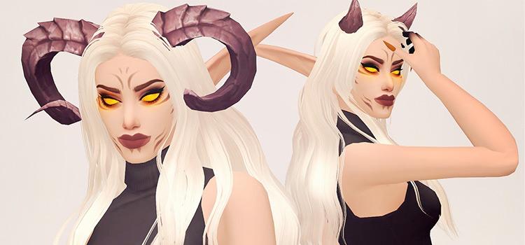 Illidari WoW horns in The Sims 4