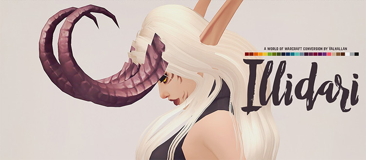 Illidari: World of Warcraft Demon Hunter Horns by Valhallan Sims 4 CC