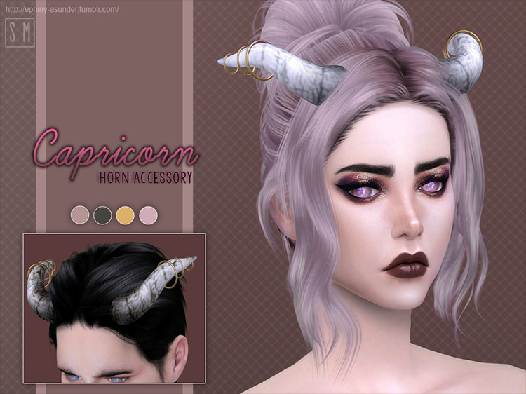 Capricorn Horn Accessory CC by Screaming Mustard Sims 4