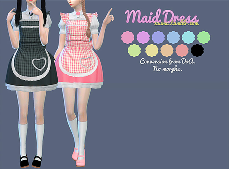 Cute maid dress outfits CC