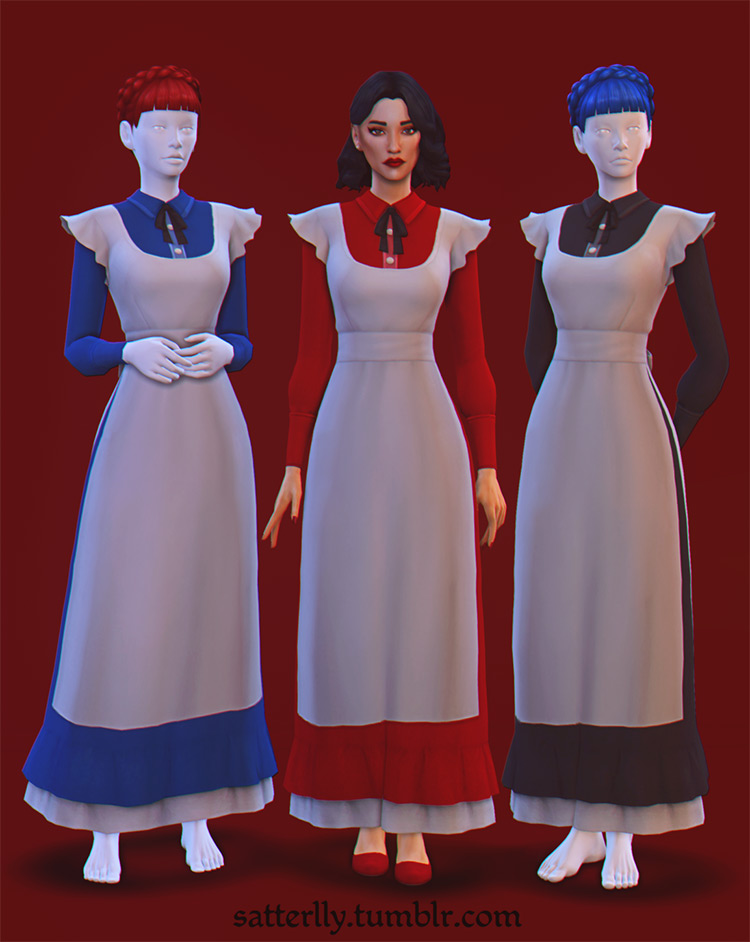 Long gown 1880s style outfit - Sims 4 maid CC
