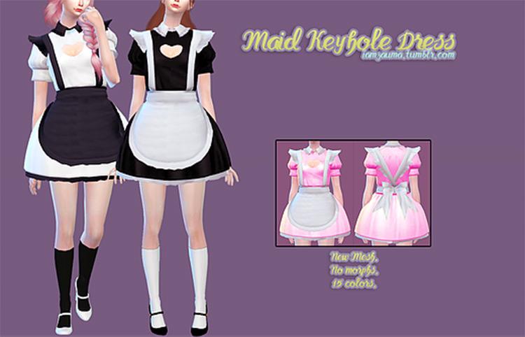 Cute keyhole skirt maid outfit - Sims 4 CC