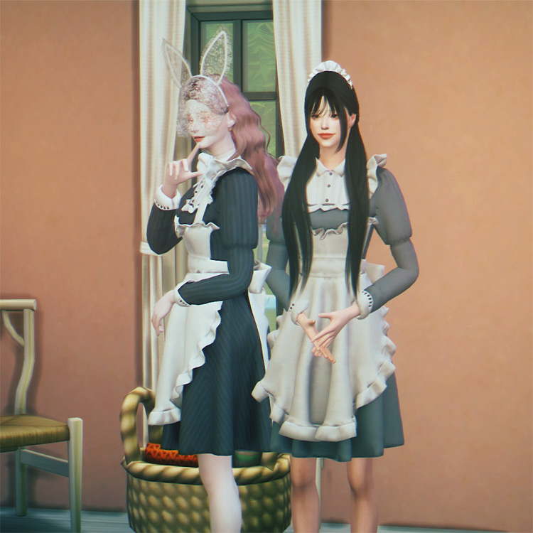 Detailed maid costume design for Sims 4