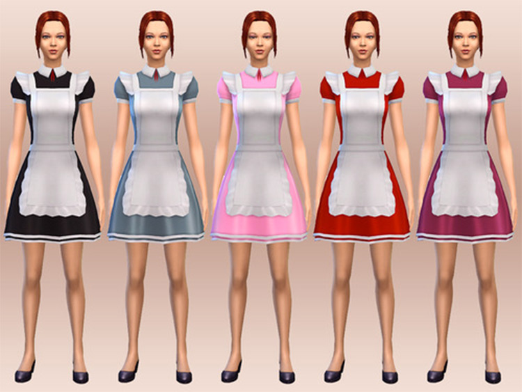 Colorful maid costume females CC