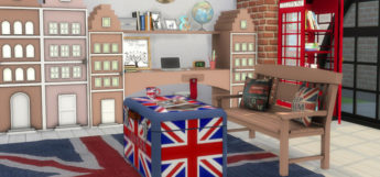 Union Jack bedroom CC set preview - The Sims 4