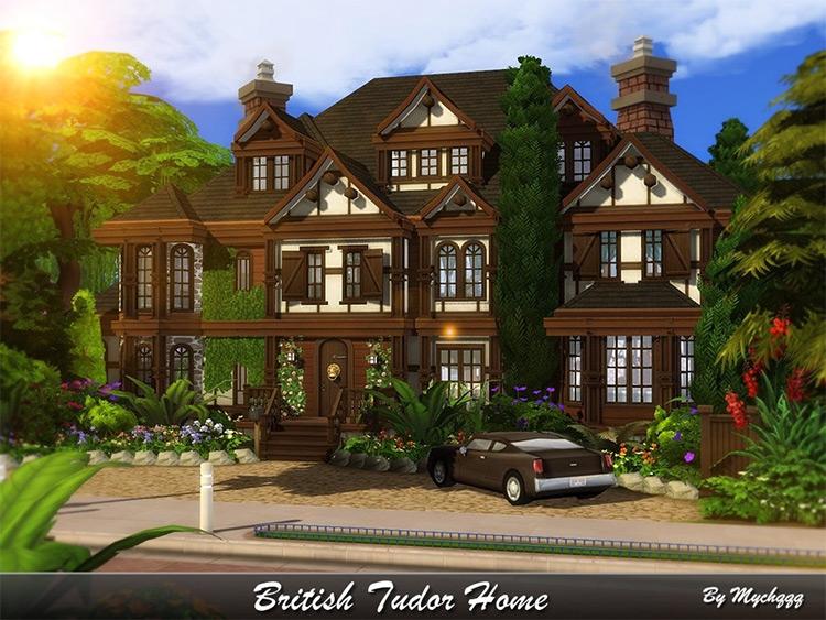 British Tudor Home Lot CC for The Sims 4