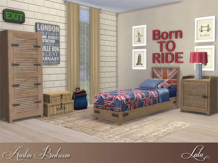 Austin Bedroom with British Theme - The Sims 4