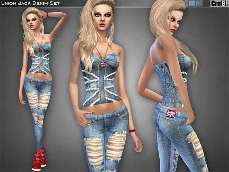 Union Jack Girls Denim Outfit - TS4 CC