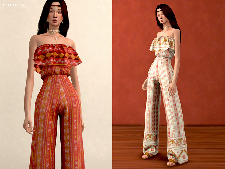 Boho Style Jumpsuit CC for The Sims 4