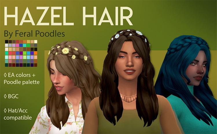 Hazel Hippie Hair CC for Sims 4