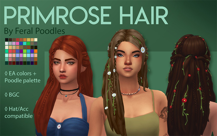 Primrose Hair CC for Sims 4