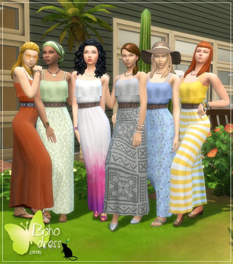 Boho Dress CC - Sims 4 Mod