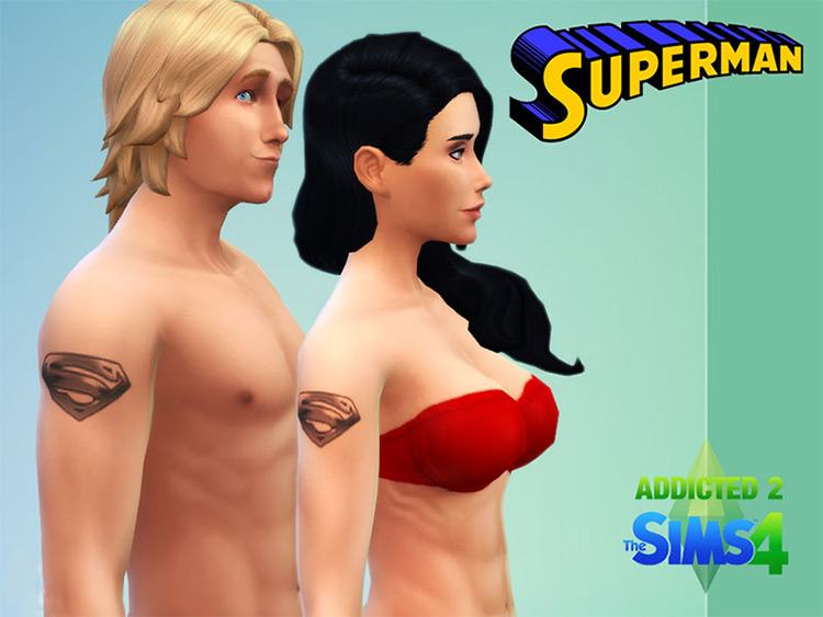 Superman Logo Tattoo for The Sims 4