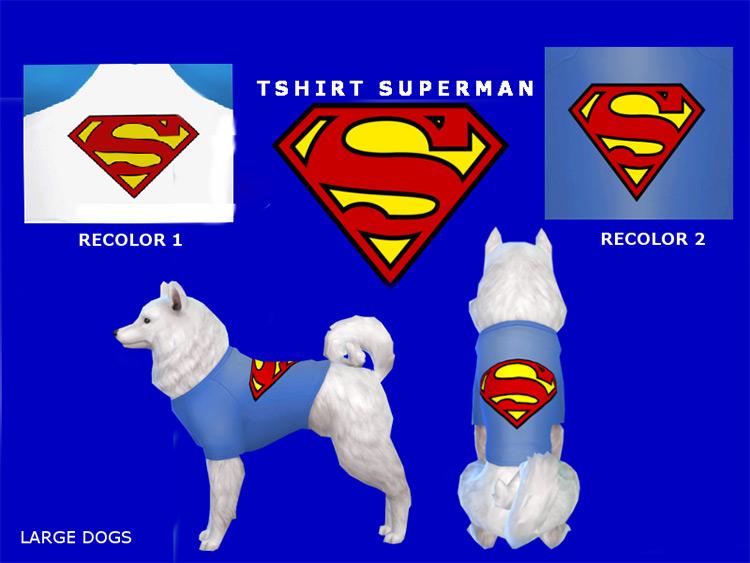 Superman T-Shirt for Pets / Sims 4 CC