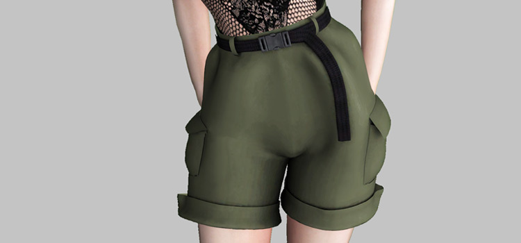 Green Cargo Shorts with Belt / The Sims 4