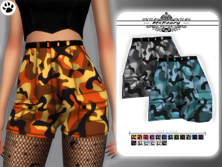 Camo Cargo Shorts for The Sims 4