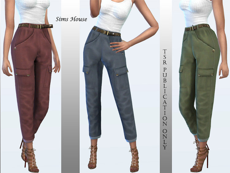 Women's Cargo Pants With Slim Belt for The Sims 4