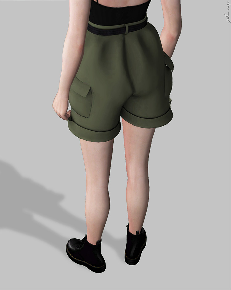 Belted Cargo Shorts / Sims 4 CC