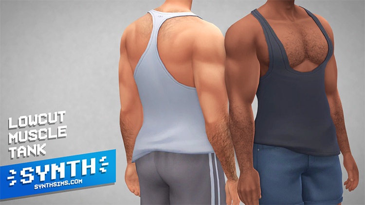 Lowcut Male Muscle Tank / Sims 4 CC