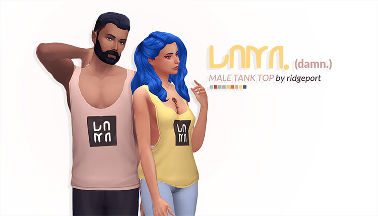 Damn Male Tank Tops for The Sims 4