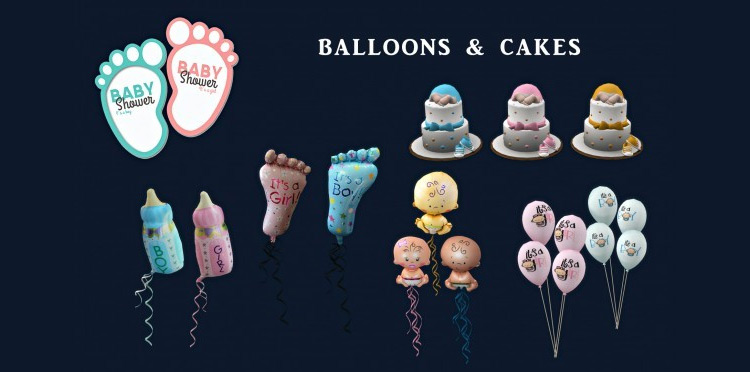 Baby Shower Deco Set for The Sims 4