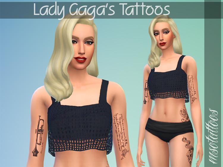 Lady Gaga Tattoos Set / Sims 4 CC