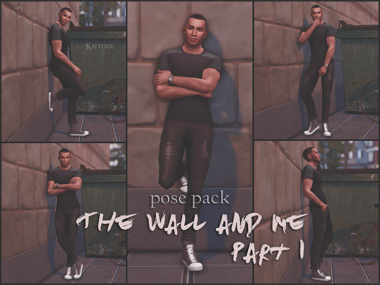 The Wall and Me Pose Pack #1 / The Sims 4