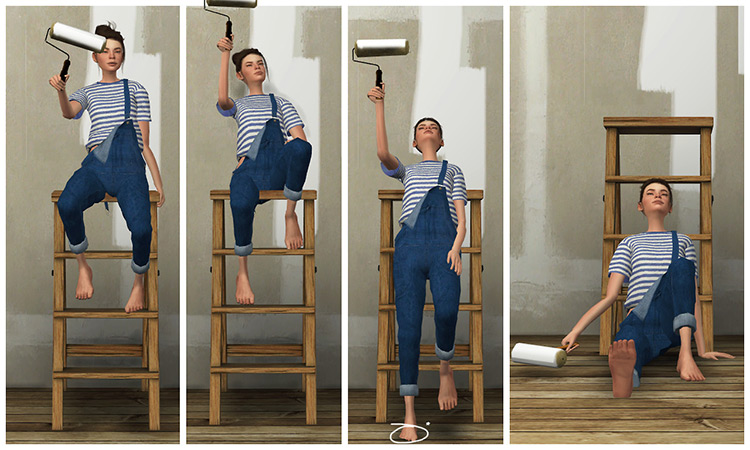 Wall Painting Pose Set for The Sims 4