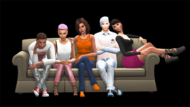 Marygelal's Group Poses Pack With Sofa / TS4 CC