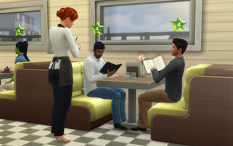 Dine Out Single Booths CC for The Sims 4