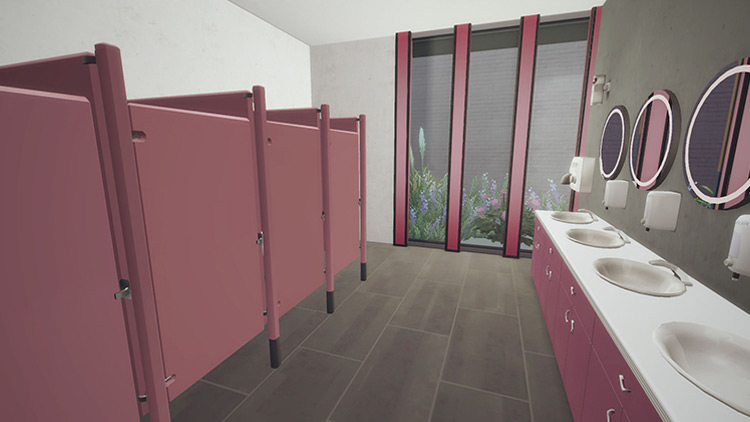 Animated and Functional Bathroom Stalls Mod / The Sims 4