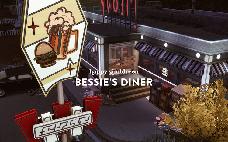 Bessie's Diner Restaurant CC Lot / The Sims 4