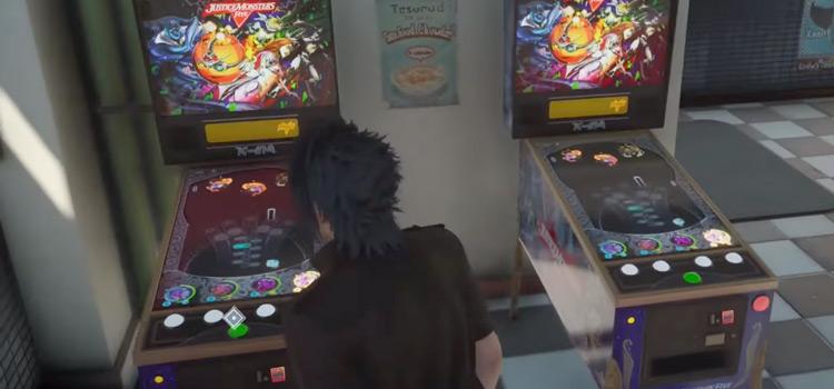 FFXV standing beside pinball machines