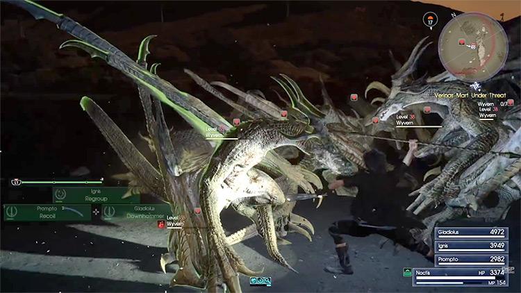 FFXV Wyverns gameplay screenshot