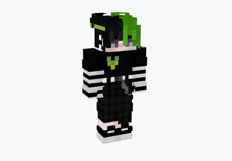 Emo Male Green Split Character / Minecraft Skin