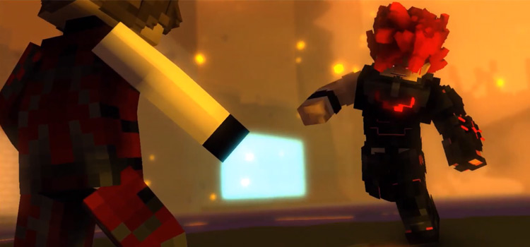 Devil character battling in Minecraft