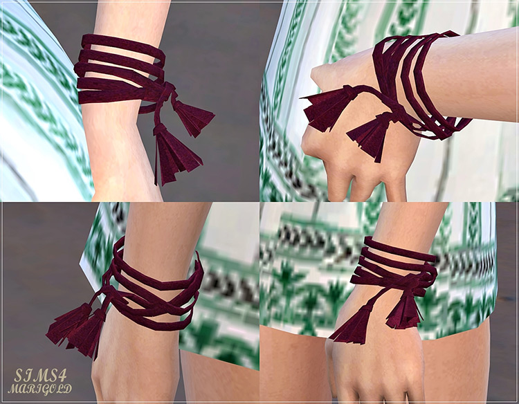 Suede Cord Tassel Bracelet for The Sims 4