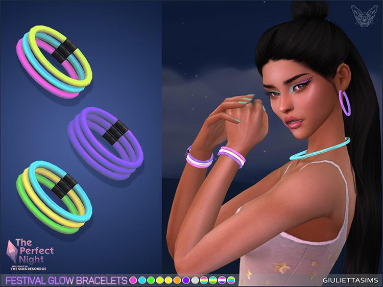 Glow Rave/Festie Bracelets CC for The Sims 4