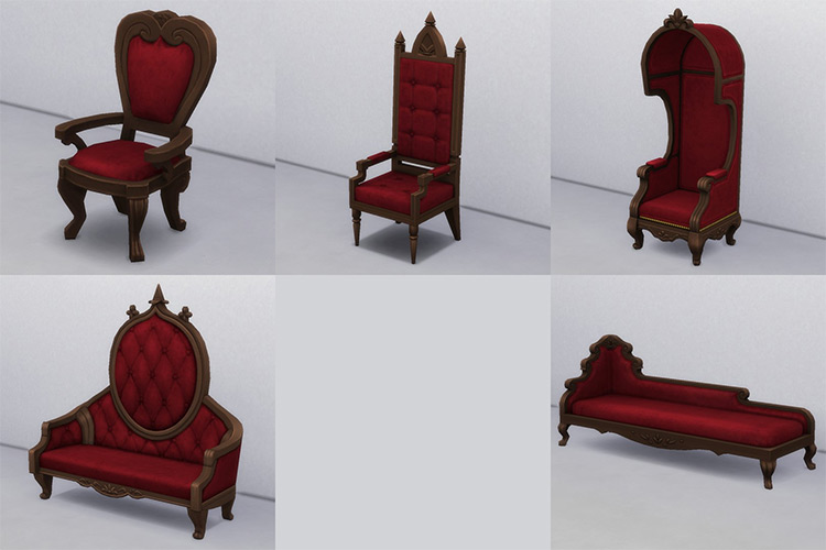 Gothic Seating CC Recolors for The Sims 4
