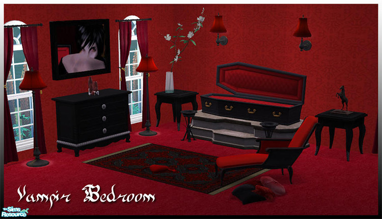 Vampire Bedroom CC Set for The Sims 4
