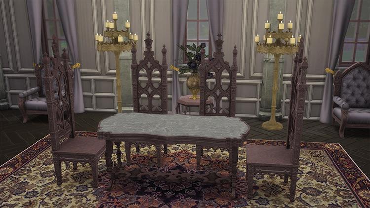 Gothic Dining Furniture Set / Sims 4 CC