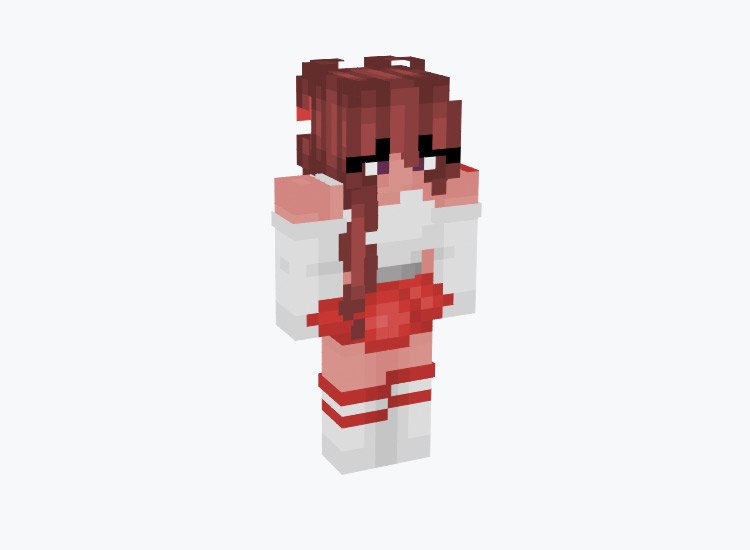 Red Girl Cheerleader Character / Minecraft Skin