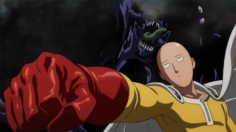 Saitama from One Punch Man anime screenshot