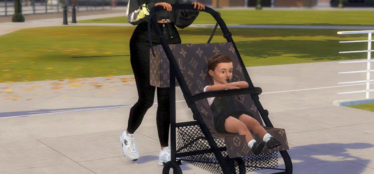 Designer Louis Vuitton Baby Stroller CC / Sims 4