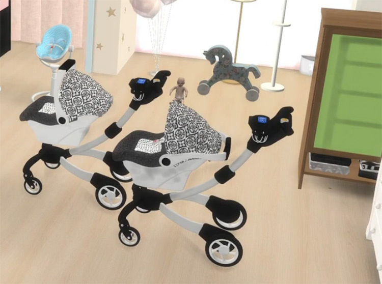 Baby Decor Set with Stroller for The Sims 4