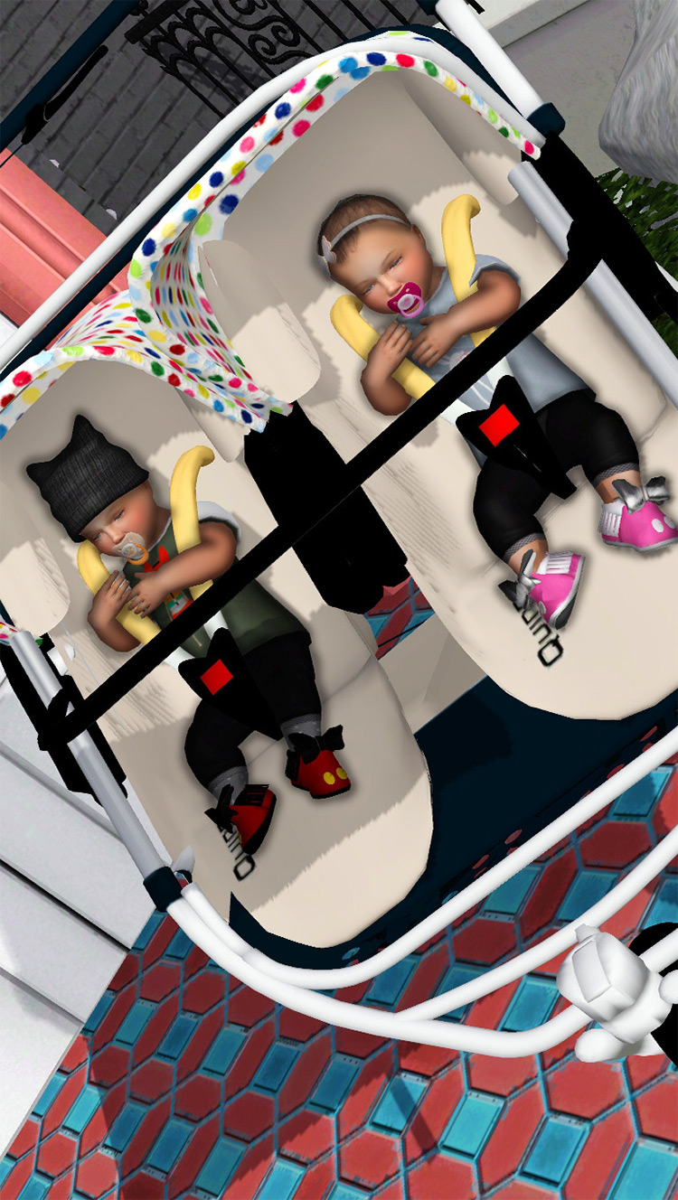Twins Baby Stroller Pose Pack / TS4 CC