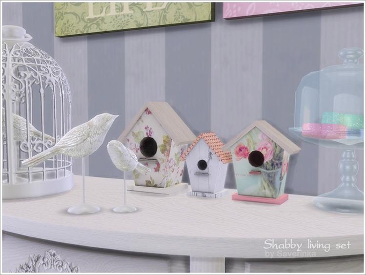 Shabby Living Set with Bird Houses / Sims 4 CC