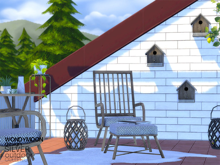 Silver Outdoor CC Set with Birdhouses / Sims 4